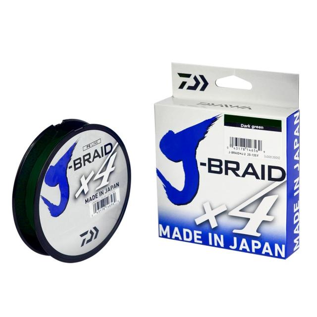 LINHA DAIWA J-BRAID X4 40LBS 0.29MM 135M DARK